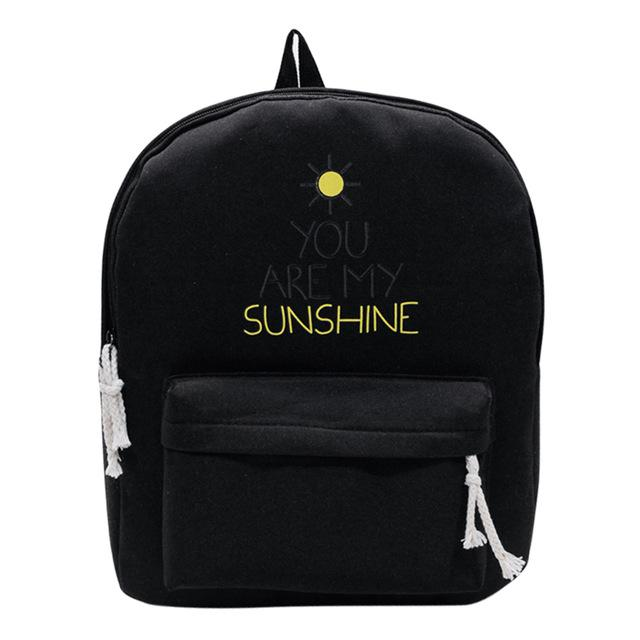 You Are My Sunshine Black Backpack