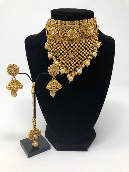 Antique Gold Choker Necklace Set