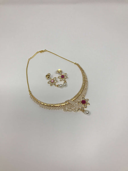 Diamond and Kundan Neck Fitting Set