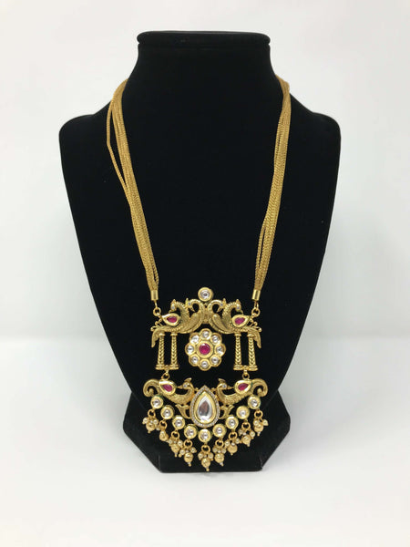 Kundan and Antique Gold Large Pendant Set