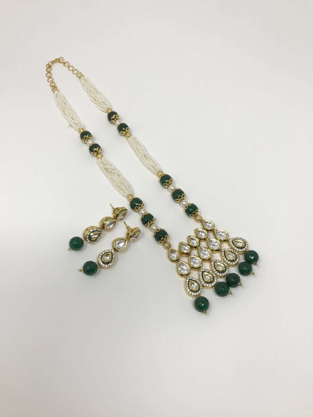 Kundan Green Beads Jewelry Set