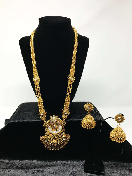 Long Antique Gold Necklace Set