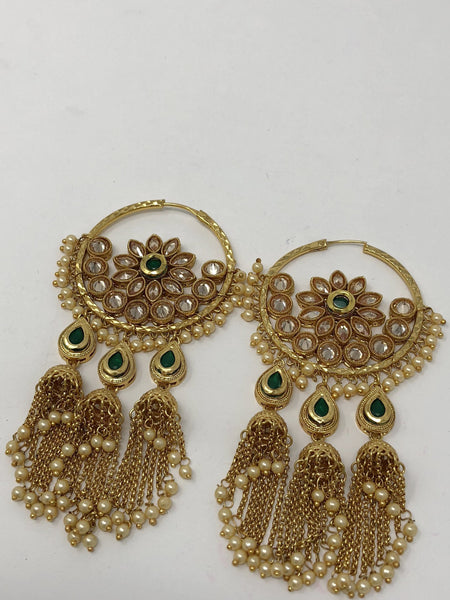 Long Kari Earrings Green