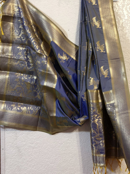 Light Blue Silk Dupatta