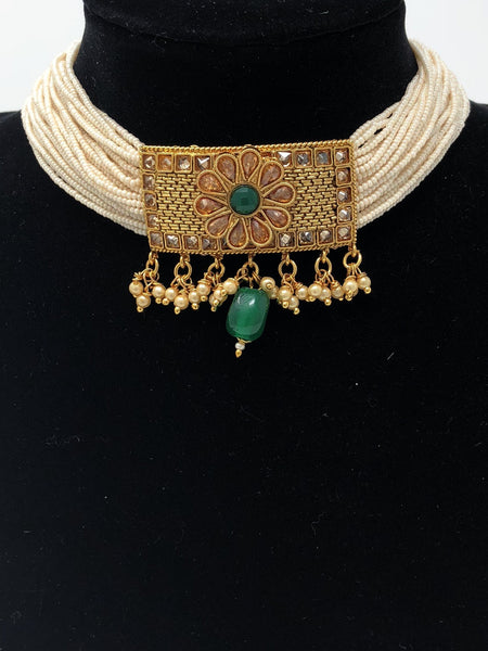 Emerald Layered Pearl Choker Necklace