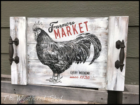 Rustic Mr. Rooster Tray - The Weathered Shed