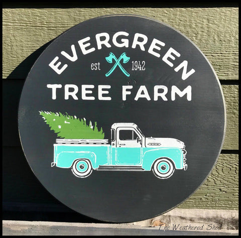 Evergreen Tree Farm Vintage Truck - The Weathered Shed