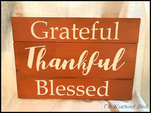 Grateful Thankful Blessed (3-Panel) - The Weathered Shed
