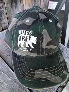 Wild & Free - Inked Camo Ball Cap - The Weathered Shed
