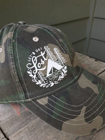 Let's Get Lost - Inked Camo Ball Cap