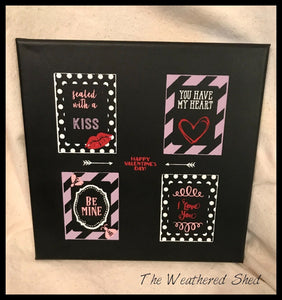 Four Valentines Canvas - The Weathered Shed