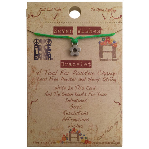 Seven Wishes Bracelet Beauty (Flower Charm) with Grass String
