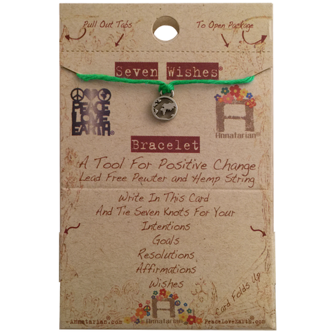 Seven Wishes® Bracelet Earth (World Charm) with Grass String