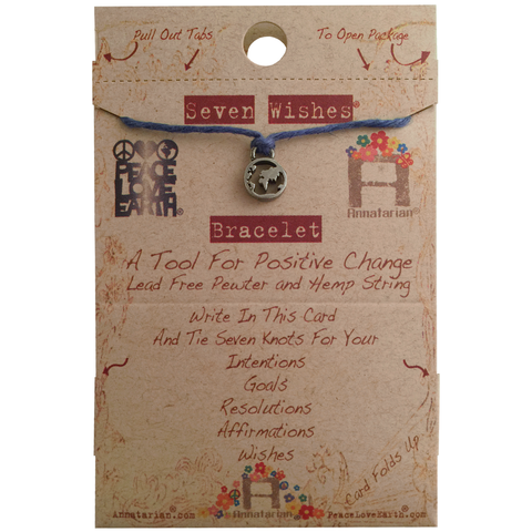 Seven Wishes Bracelet Earth (World Charm) with Ocean String