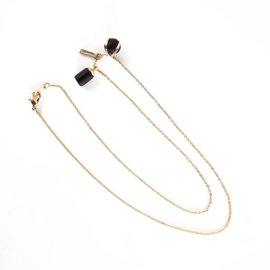 Gold Necklace - Ball Weight Bar
