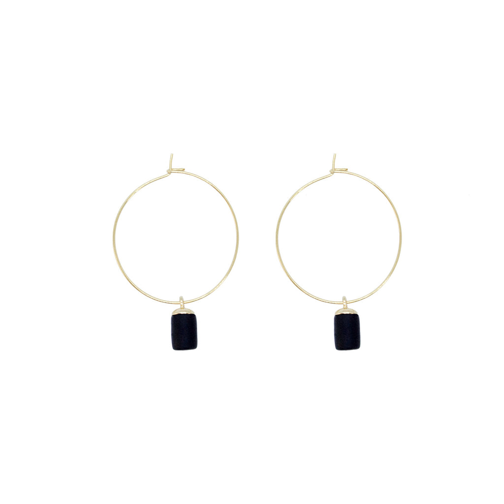 Golden Hoop Earrings - Tiny Weight Charm
