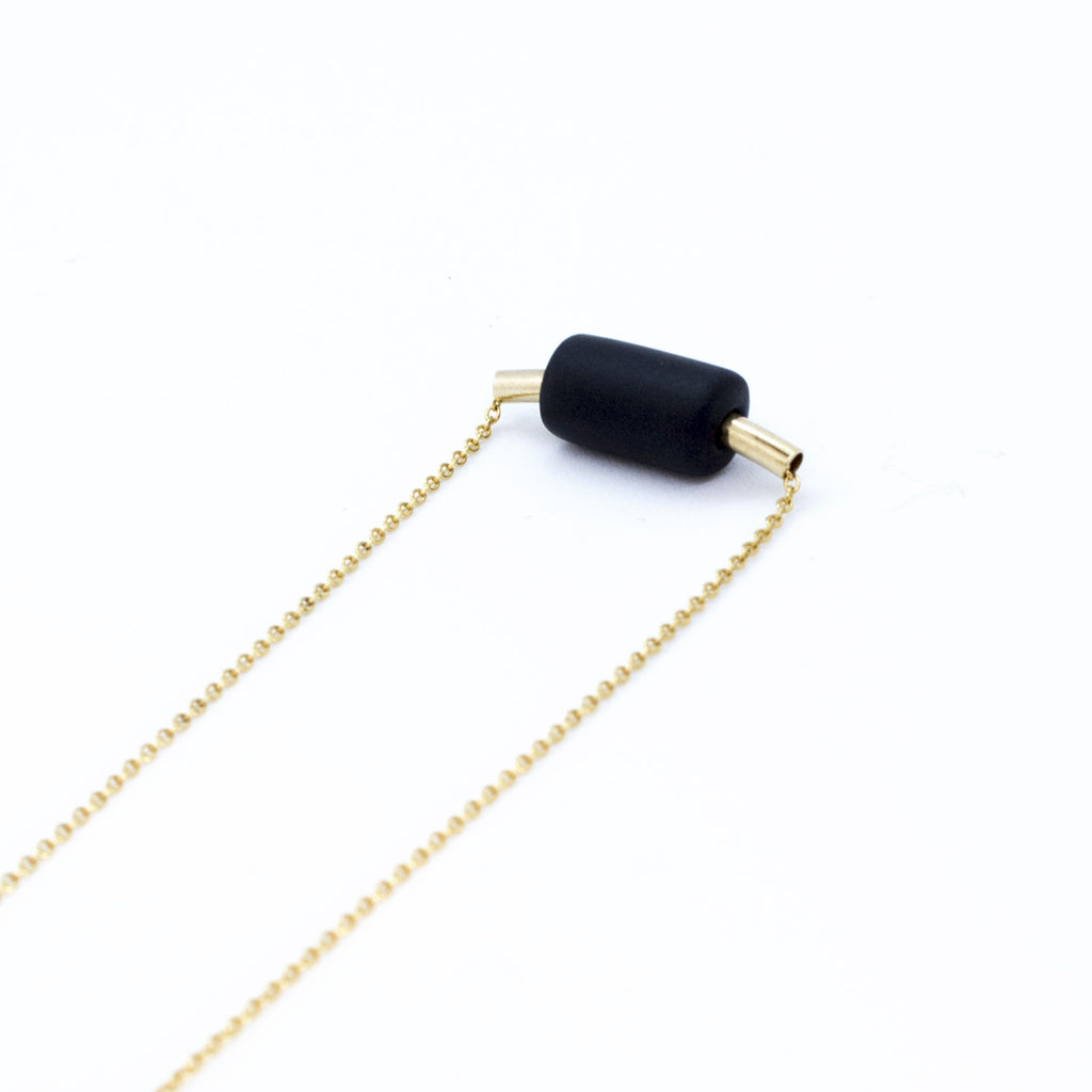 Gold Necklace - Tube Black Bead