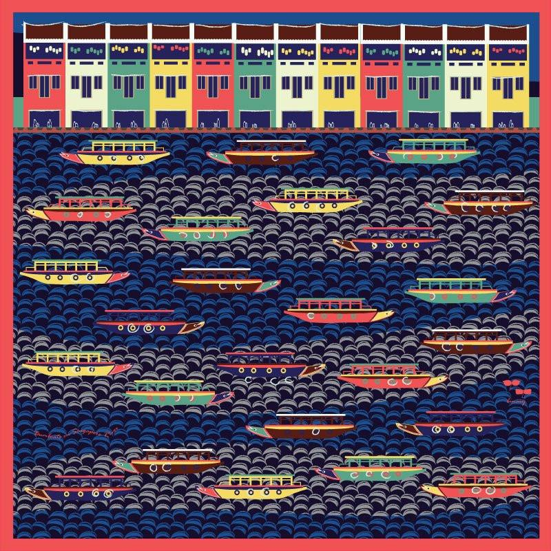 Bumboats on Singapore River Scarf