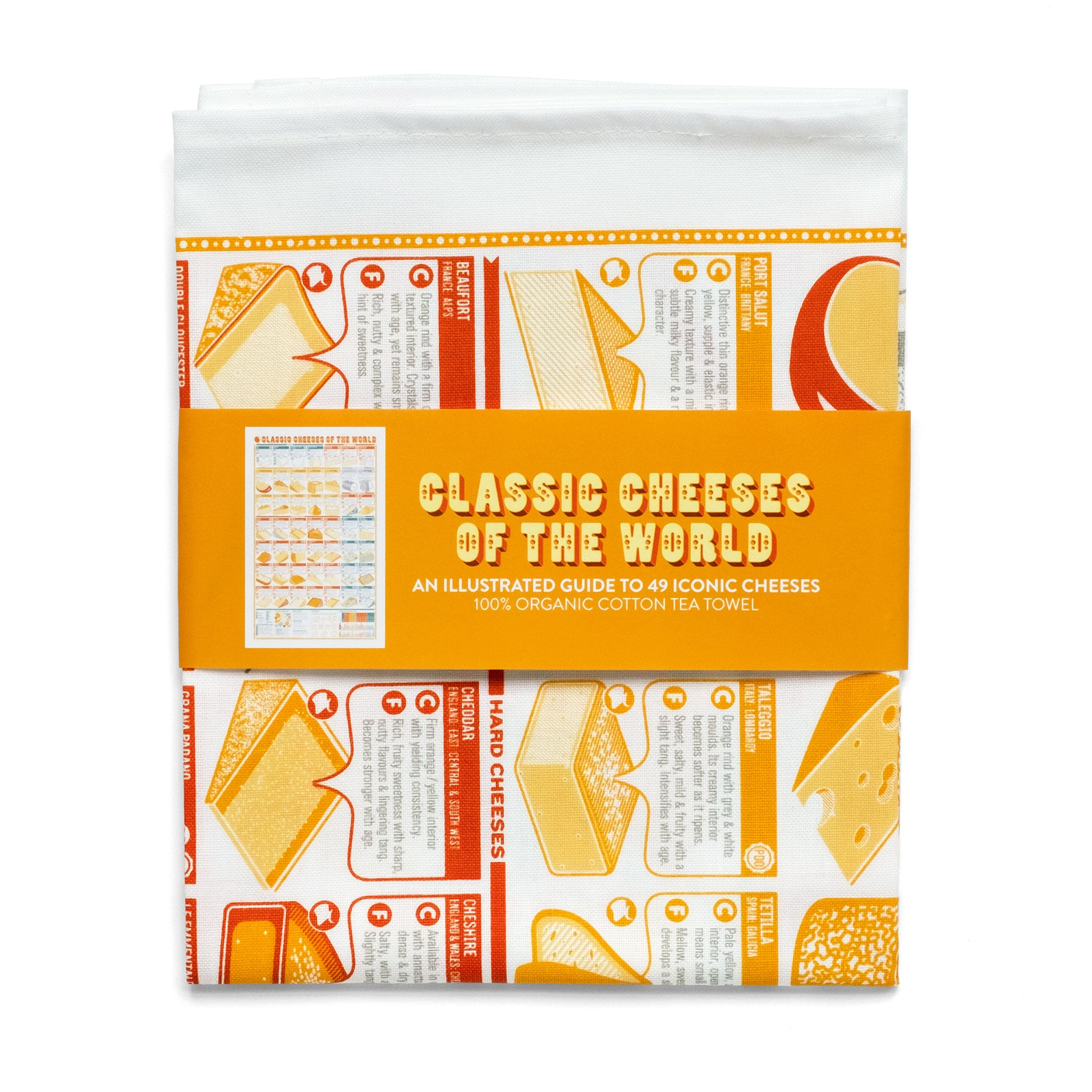 Classic Cheeses of the World Tea Towel