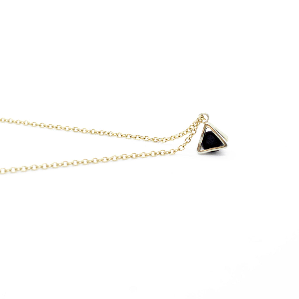 Gold Necklace - Tiny Triangle Charm