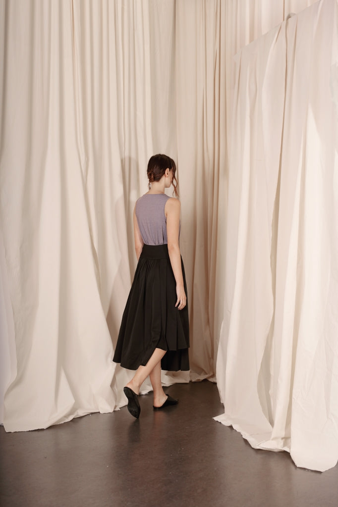 Asymmetrical Pleated Wrap Skirt