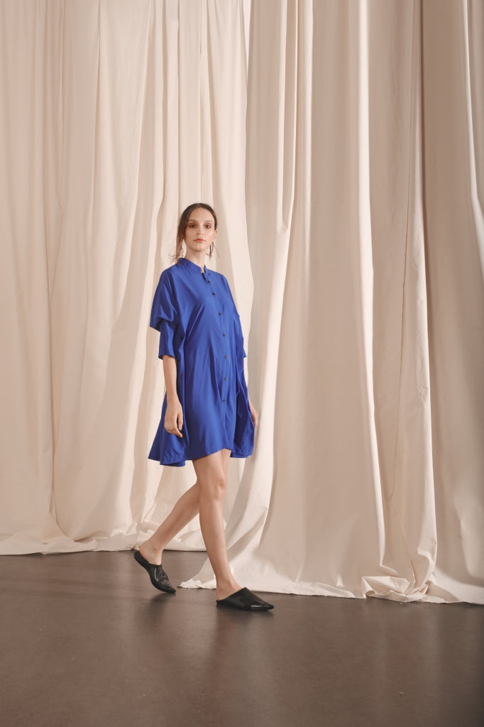 Rectangular Button Down Dress - Blue