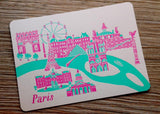 Letterpress Travel Postcard - Paris
