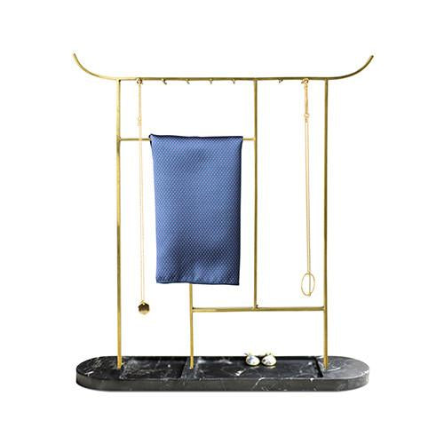 Brass Arch Gate Hanger - Nero Marquina Marble