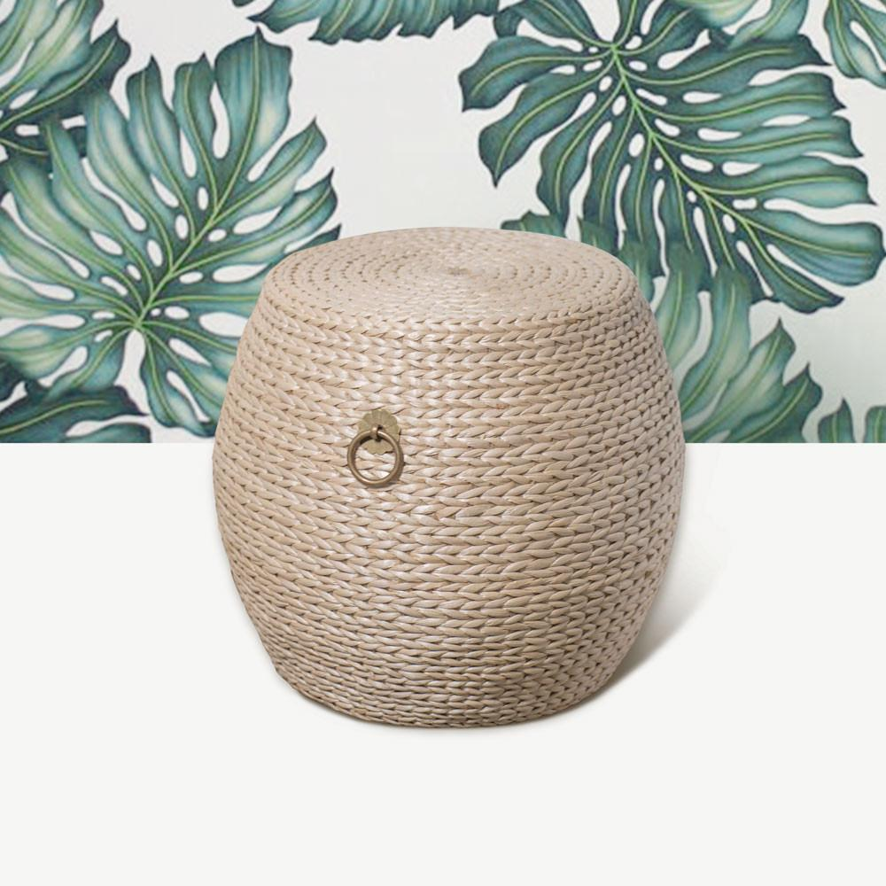 Grass Weave Drum Stool - Small
