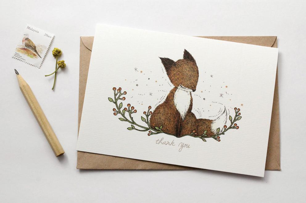 WW-GC#5 - Thank You, Fox Greeting Card