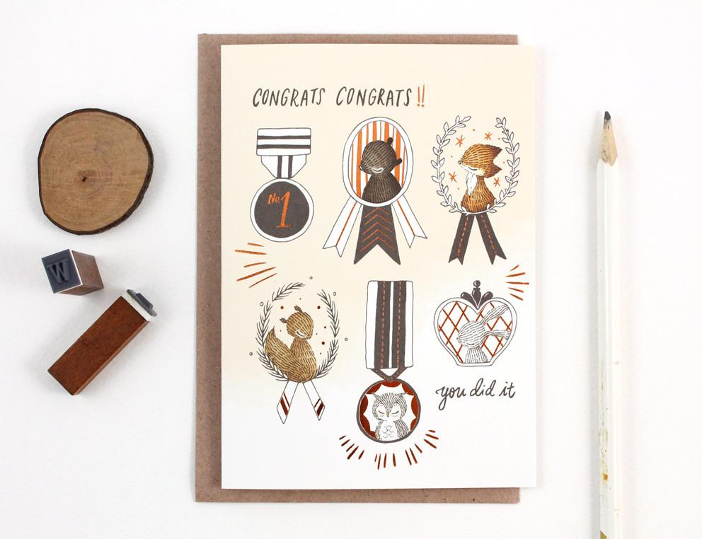 WW-GC#26 - Congrats Congrats, Copper Foil Greeting Card