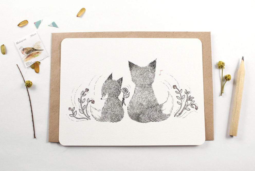 WW-NC#9 - Thank You - Father Fox Note Card