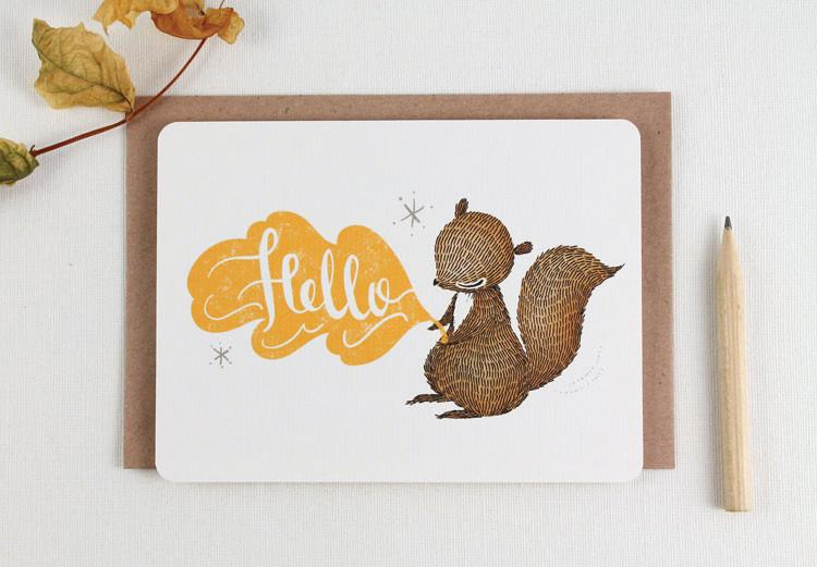 WW-NC#16 - Hello Squirrel Note Card