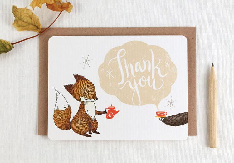WW-NC#18 - Thank You - Fox & Tea Note Card