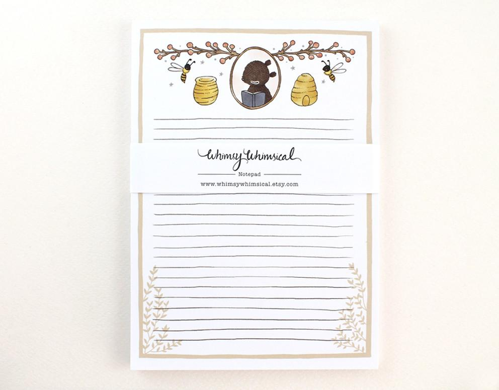 WW-NP#6 - Bear and Honey Bee Notepad