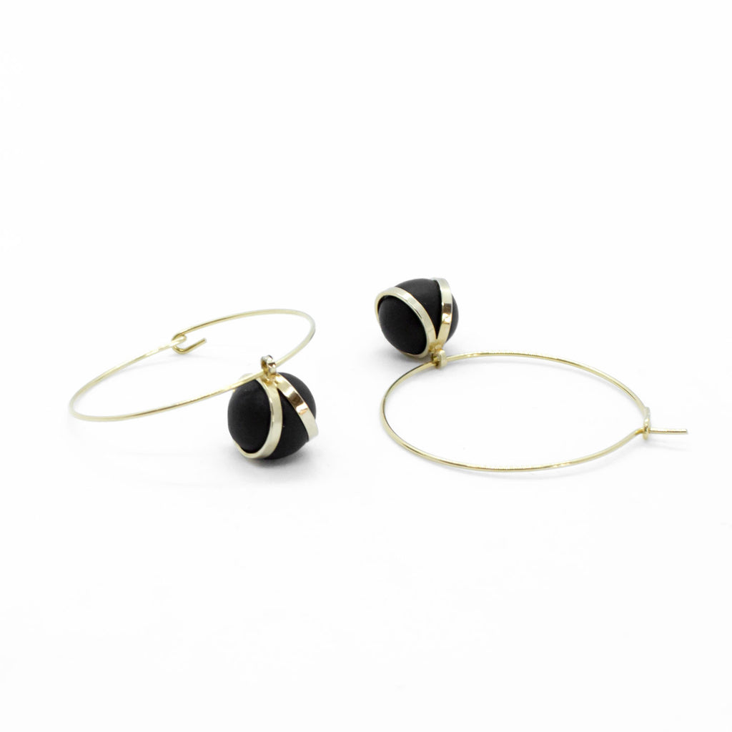 Golden Hoop Earrings - Black Ball Bead Pendant