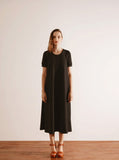 Black Maxi Tent Dress with Ribbed Sleeve Cuff