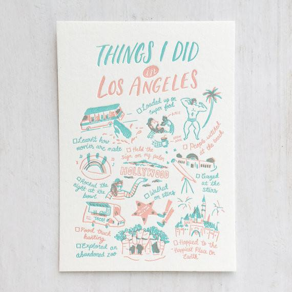 Things I Did In Los Angeles Postcard