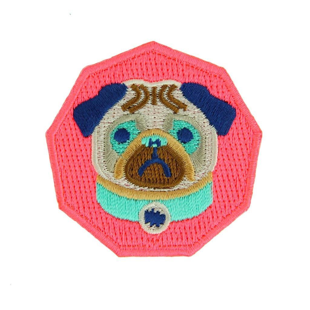 Neon Pug Iron On Patch