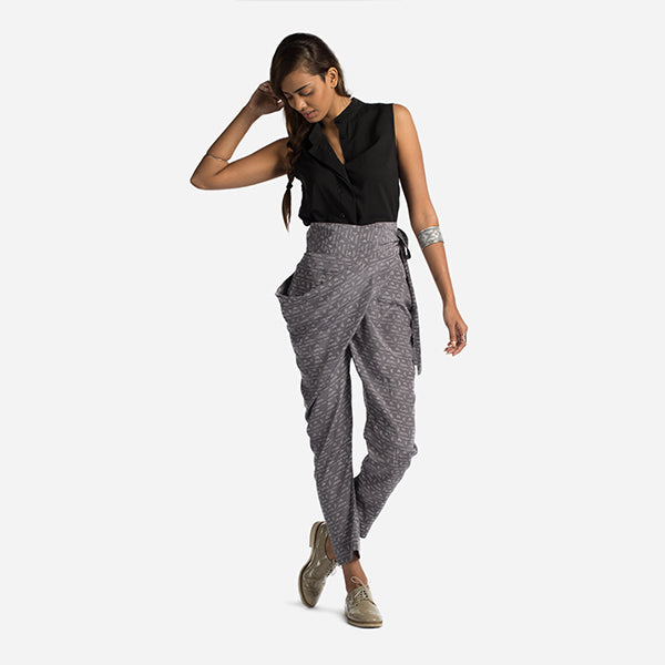 Sideswept Dhoti - Bottom Line Grey (Silk)