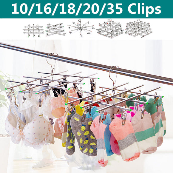 10 - 35 Clip Peg Stainless Steel Metal Foldable Cloth Clothes Airer Hanger Dryer