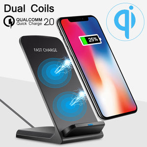 Quick Charge 2.0 10W Dual Coil Qi Wireless Charger Fast Charging Phone Dock Pad