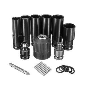 10pcs Air Impact Wrench Socket Set 1/2'' Square Drive Metric Drill Chuck Adapter