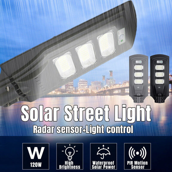 120W Bright Waterproof PIR Motion Sensor Wall Pole Street LED Solar Lamp Light