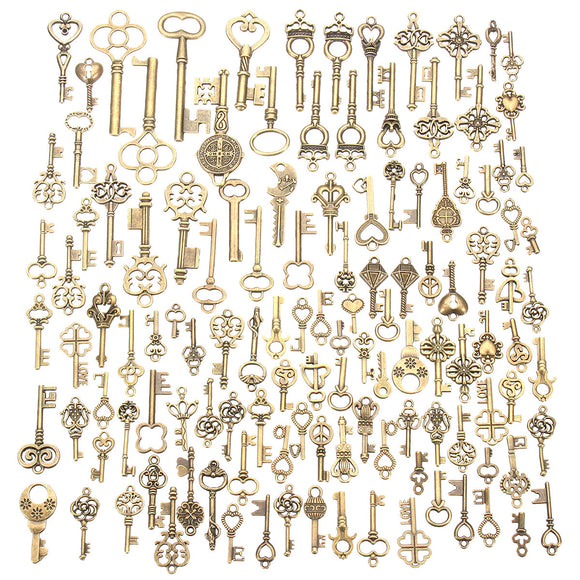 125Pcs Vintage Antique Bronze Key Pendant Necklace Skeleton DIY Jewellery Making