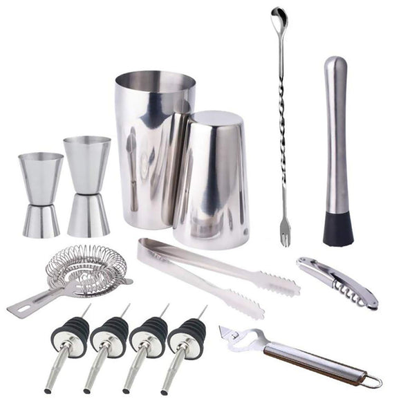 14Pcs Bar Boston Martini Spirit Cocktail Mixer Maker Shaker Strainer Muddler Set