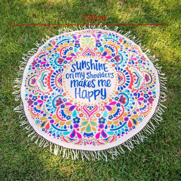 150cm Bohemian Indian Round Beach Towel Picnic Yoga Blanket Mandala Tapestry Mat