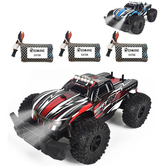 Eachine EAT08 1/14 2.4G RC Off Road 2WD Buggy Car Truck + 2/3 Battery LED Light