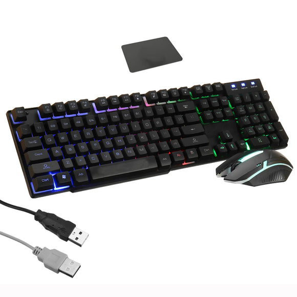 RGB USB Backlit Wired Gaming Mechanical Keyboard 1000dpi Optical Mouse Combo Set