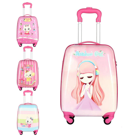 46cm 18'' Kids Girls Cute Cartoon Travel Luggage Suitcase Trolley Bag On Wheels